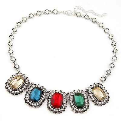 Pierced multicolor gemstone decorated design alloy Bib Necklaces