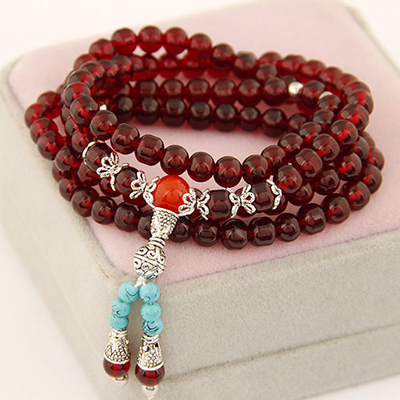 Jockey claret-red multilayer simple design beads Korean Fashion Bracelet