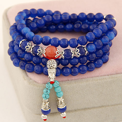 Colorful sapphire blue multilayer simple design beads Korean Fashion Bracelet
