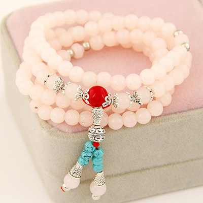 Custom light pink multilayer simple design beads Korean Fashion Bracelet
