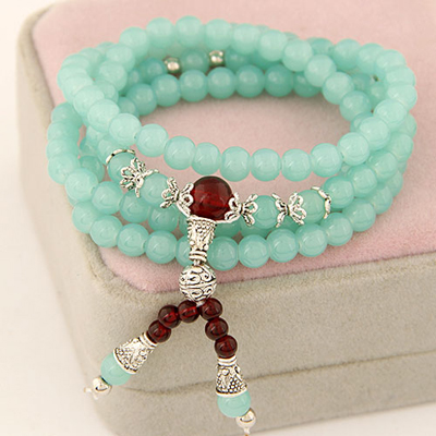 Bespoke light green multilayer simple design beads Korean Fashion Bracelet