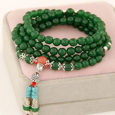 Kinetic Dark Green multilayer simple design beads Korean Fashion Bracelet