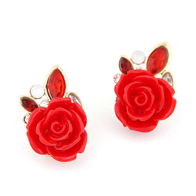 Active red rose flower decorated design alloy Stud Earrings