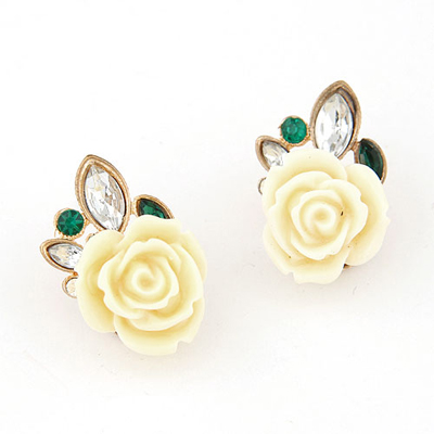 Punk beige rose flower decorated design alloy Stud Earrings