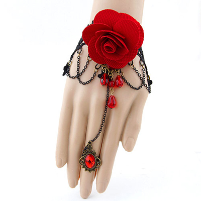 Asian red rose flower decorated alloy Korean Fashion Bracelet