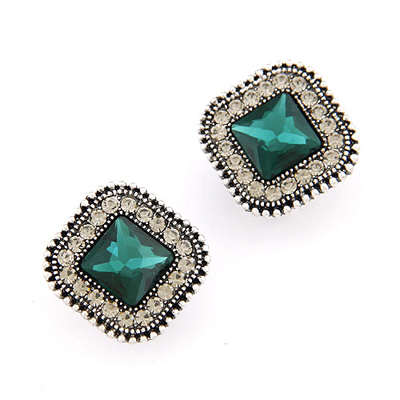 Mysterious Dark Green gemstone decorated square shape design alloy Stud Earrings