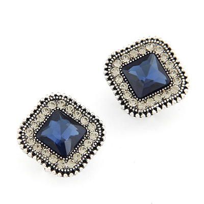 Security dark blue gemstone decorated square shape design alloy Stud Earrings
