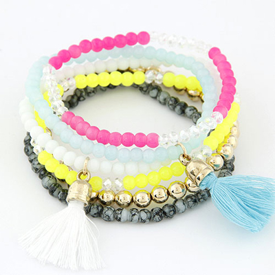 Monarch multicolor tassel decorated multilayer design alloy Korean Fashion Bracelet