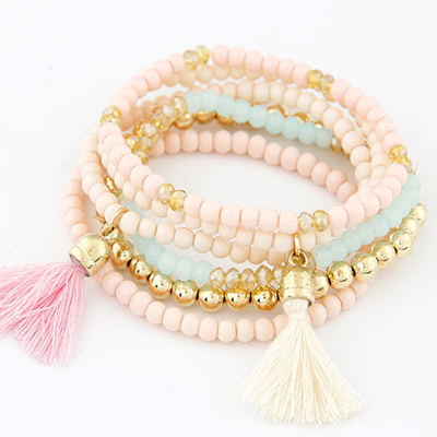 Blank multicolor tassel decorated multilayer design alloy Korean Fashion Bracelet