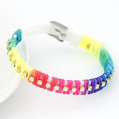 Elastic white candy color rope weave simple design handmade rope Korean Fashion Bracelet