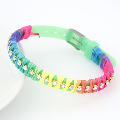 Charm fruit green candy color rope weave simple design handmade rope Korean Fashion Bracelet