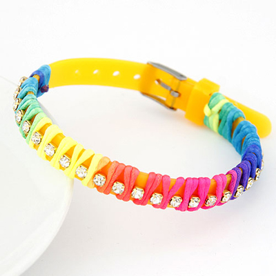 Scottish yellow candy color rope weave simple design handmade rope Korean Fashion Bracelet