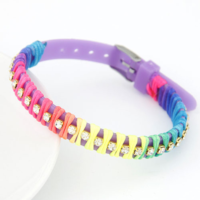 Standard purple candy color rope weave simple design handmade rope Korean Fashion Bracelet