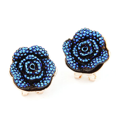 Standard blue rose flower decorated design alloy Stud Earrings
