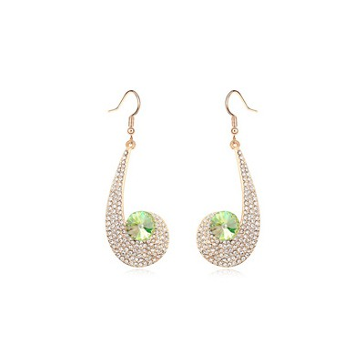 Piercing Fluorescent green CZ diamond decorated unique design crystal Crystal Earrings