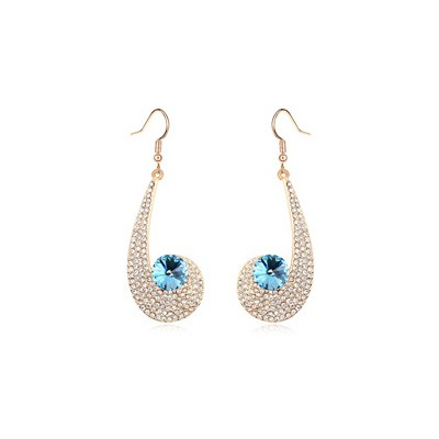 Garnet navy blue CZ diamond decorated unique design crystal Crystal Earrings