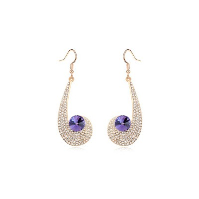Nautical pinkish purple CZ diamond decorated unique design crystal Crystal Earrings