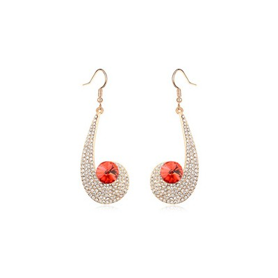 Inexpensiv lotus red CZ diamond decorated unique design crystal Crystal Earrings
