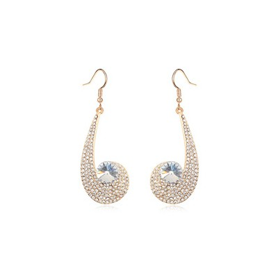 Flip white CZ diamond decorated unique design crystal Crystal Earrings
