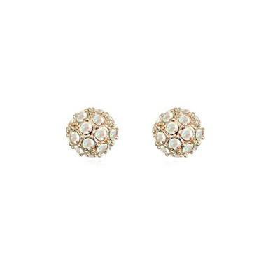 Ferret white CZ diamond decorated ball shape design crystal Crystal Earrings