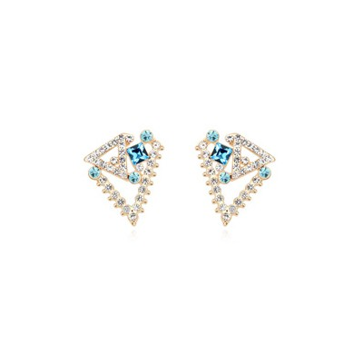 Timeless navy blue geometrical shape design crystal Crystal Earrings