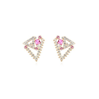 Modern plum red geometrical shape design crystal Crystal Earrings