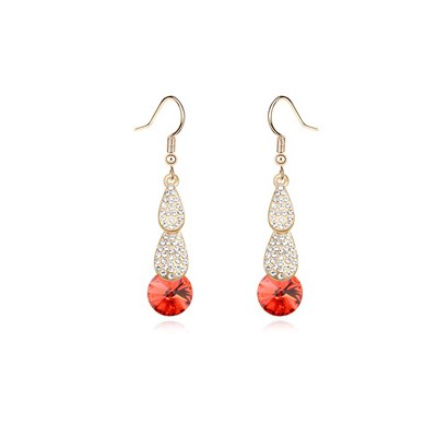 Players lotus red crystal stone decorated simple design crystal Crystal Earrings