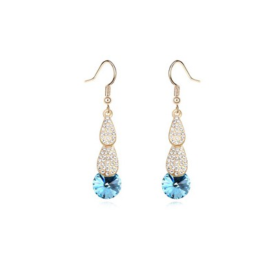 Writing navy blue crystal stone decorated simple design crystal Crystal Earrings