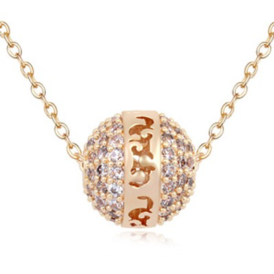 Packaging champagne ball shape decorated simple design zircon Crystal Necklaces
