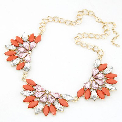 Hydraulic orange red gemstone decorated flower shape design alloy Bib Necklaces