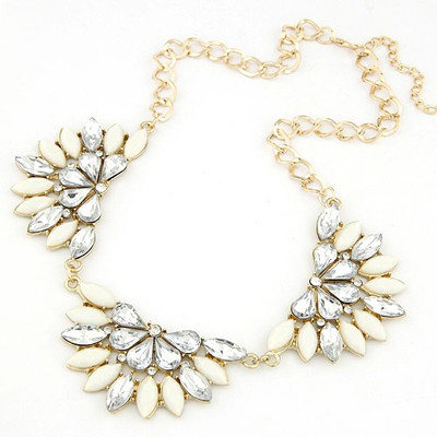 Tribal white gemstone decorated flower shape design