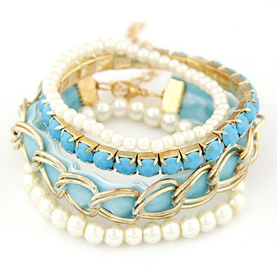 Equestrian sky blue metal chains decorated multilayer design alloy Korean Fashion Bracelet