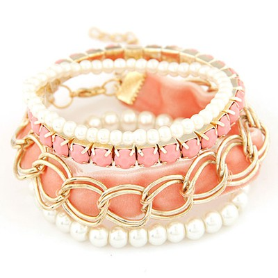 Printed pink metal chains decorated multilayer design alloy Korean Fashion Bracelet