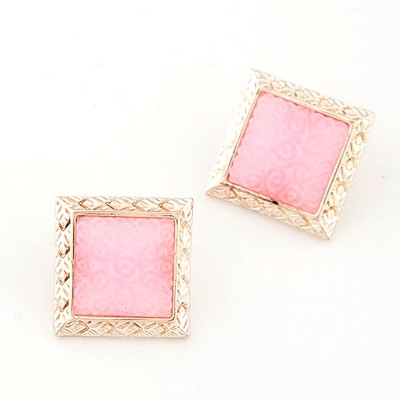Packaging pink rose flower pattern big square design alloy Stud Earrings