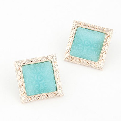 Maxi light blue rose flower pattern big square design alloy Stud Earrings