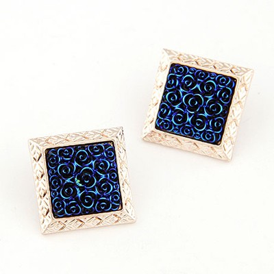 Vintage sapphire blue rose flower pattern big square design alloy Stud Earrings