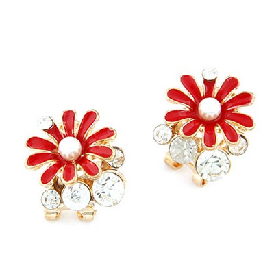 Dangle red chrysanthemum flower decorated design alloy Stud Earrings