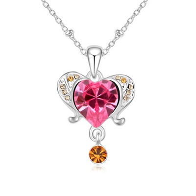 Friendly plum red diamond decorated aries design crystal Crystal Necklaces