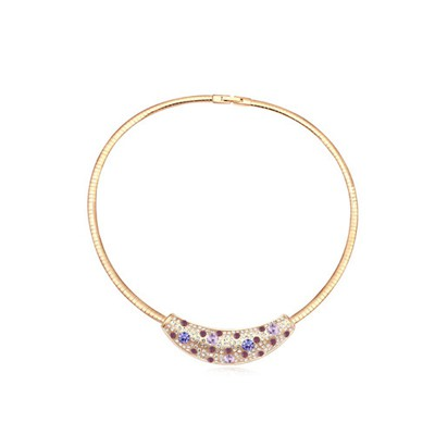 Peridot violet&champagne gold diamond decorated round shape design crystal Crystal Necklaces