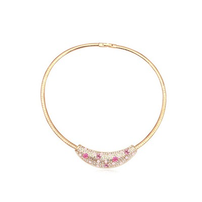 Security light plum red &champagne gold diamond decorated round shape design crystal Crystal Necklaces
