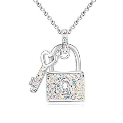 Scrapbooki multicolor diamond decorated key lock pendant design crystal Crystal Necklaces