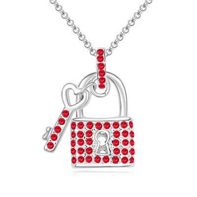 Oval light red diamond decorated key lock pendant design crystal Crystal Necklaces