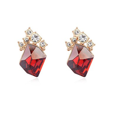 Skeleton red&champagne gold diamond decorated simple design crystal Crystal Earrings