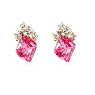 Classic plum red&champagne gold diamond decorated simple design crystal Crystal Earrings