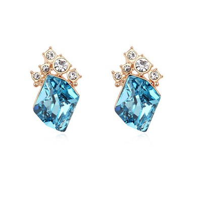 Promo navy blue&champagne gold diamond decorated simple design crystal Crystal Earrings