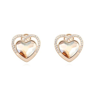 Chiropract champagne gold diamond decorated heart shape design crystal Crystal Earrings