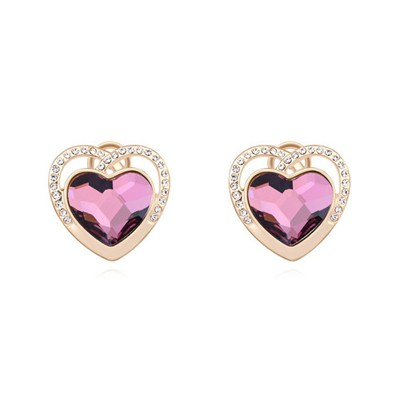 Lined purple&champagne gold diamond decorated heart shape design crystal Crystal Earrings