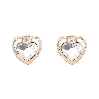 Easter white &champagne gold diamond decorated heart shape design crystal Crystal Earrings