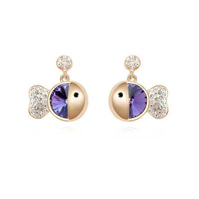 Platinum purple&champagne gold diamond decorated fish shape design crystal Crystal Earrings