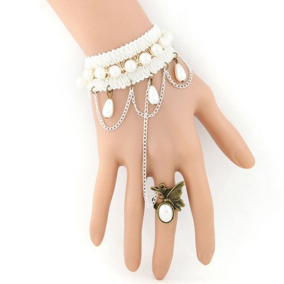 Profession beige gemstone decorated butterfly design alloy Korean Fashion Bracelet